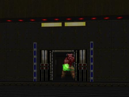 Screenshot aus meinem langsam entstehenden DooM-WAD 'Not Phobos Again': Ein Hell Knight steht vor der Exit-Tür und lässt niemanden kampflos hindurch.