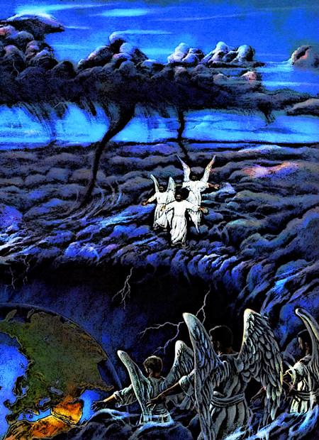 Illustration des Weltunterganges aus dem alten Offenbarungsbuch der Zeugen Jehovas