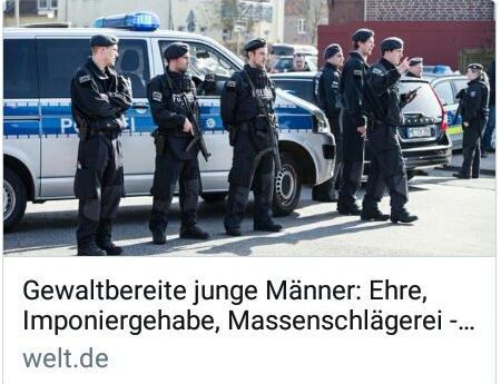 welt.de -- Gewaltbereite junge Männer: Ehre, Imponiergehabe, Massenschlägerei -- Dazu als Symbolbild uniformierte Polizeibeamte vor ihren Einsatzfahrzeugen.