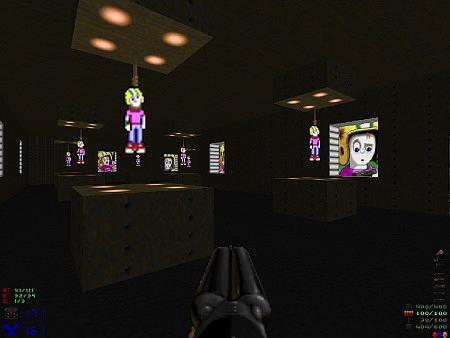 Raum aus dem DooM-PWAD 'Twilight Zone' von Paul Corfiatis. Commander Keen hängt mehrfach an der Decke, an den Wänden hellbeleuchtete Bilder von Commander Keen. Die Wände des Raumes aus rostigem Metall.