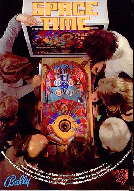 SPACE TIME -- Spannedes und faszinierendes Spiel im »Weltraum«- -- Rasanter 4-Mann-Kampf-Flipper mit hohen Wertungschancen. -- Favorit bei Spielern und Aufstellern. Zugkräftig und spielfreudig. Mit besten Kassenergebnissen. -- Bally -- NSM