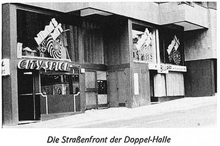 Scan aus einer Fachzeitschrift für Aufsteller aus dem Jahr 1975: Die Straßenfront der Doppelhalle