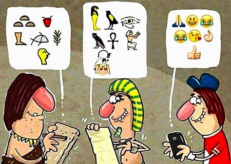 Unerklärbarer gezeichneter Witz. Drei Männer mit Schreibmaterial. Der erste hält eine Steintafel und hat eine Sprechblase mit Bildschriftzeichen. Der zweite hält ein Stück Papyrus und hat eine Sprechblase mit Hieroglyphen. Der dritte hält ein Wischofon und hat eine Sprechblase mit Emoji.