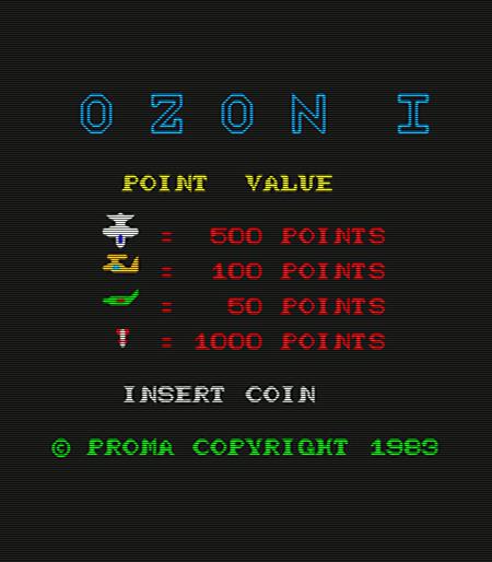 Screenshot des Arcadeautomaten Ozon I von Proma aus dem Jahr 1983