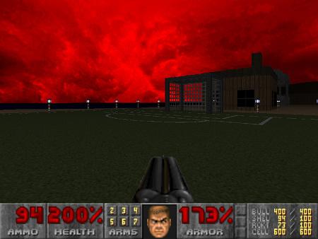 Screenshot aus dem DooM-WAD 'Good Morning Phobos'. In der Hölle mit ihrem roten Himmel gibt es einen Fußballplatz
