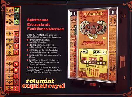 Werbung für das NSM-Geldspielgerät Rotamint Exquisit Royal aus dem Jahr 1976 in einer damaligen Fachzeitschrift für Aufsteller