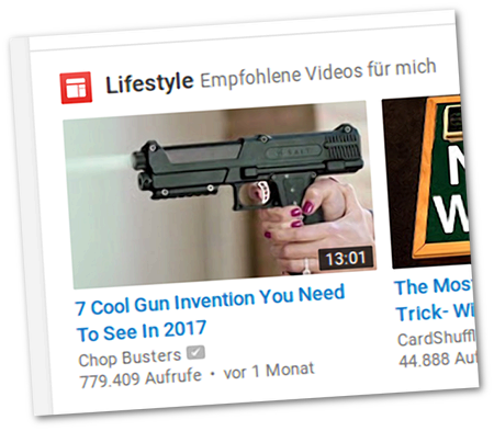 Screenshot, Detail von YouTube -- Lifestyle, Empfohlene Videos für mich -- 7 Cool Gun Inventions You Need To See In 2017
