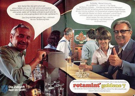 Werbung für das NSM-Geldspielgerät Rotamint Goldene 7 aus einem Fachmagazin für Aufsteller aus dem Jahr 1978