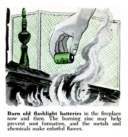 Burn old flashlight batteries in the fireplace now and then. The burning zinc may help prevent soot formation, and the metals and chemicals make colorful flames