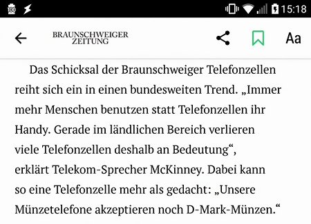 Das Schicksal der Braunschweiger Telefonzellen reiht sich ein in einen bundesweiten Trend. 'Immer mehr Menschen benutzen statt Telefonzellen ihr Handy. Gerade im ländlichen Bereich verlieren viele Telefonzellen deshalb an Bedeutung', erklärt Telekom-Sprecher McKinney. Dabei kann so eine Telefonzelle mehr als gedacht: 'Unsere Münztelefone akzeptieren noch D-Mark-Münzen.'