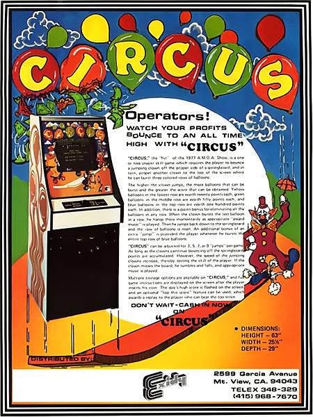 Englischsprachige Werbung für das Arcade-Spiel Circus von Exidy aus dem Jahr 1977 -- Operators! Watch your profits bounce to an all time high with 'CIRCUS'