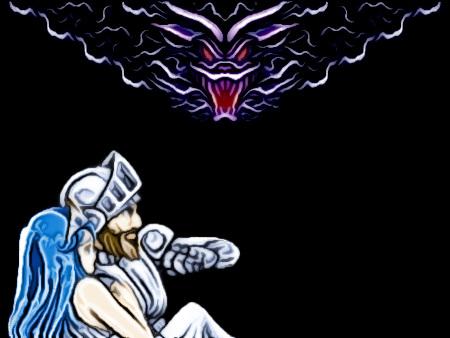 Screenshot des Schlussbildes des Arcade-Spiels Ghouls'n Ghosts aus dem Jahr 1988 von Capcom -- allerdings stark digital nachbearbeitet