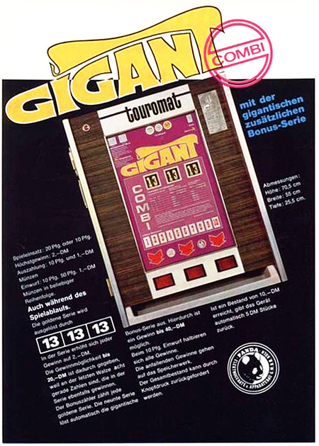 Werbung für das Panda-Geldspielgerät 'Gigant' aus einer Fachzeitschrift für Automatenaufsteller aus dem Jahr 1969