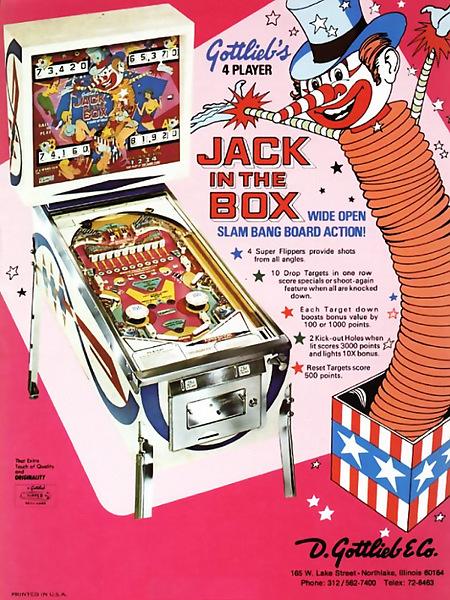 Werbung für den Gottlieb-Flipper Jack in the Box aus dem Jahr 1973