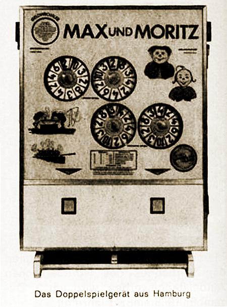 Abbildung des Bergmann-Geldspielgerätes 'Max und Moritz' aus dem Jahr 1965 in einer damaligen Fachzeitschrift für Automatenaufsteller