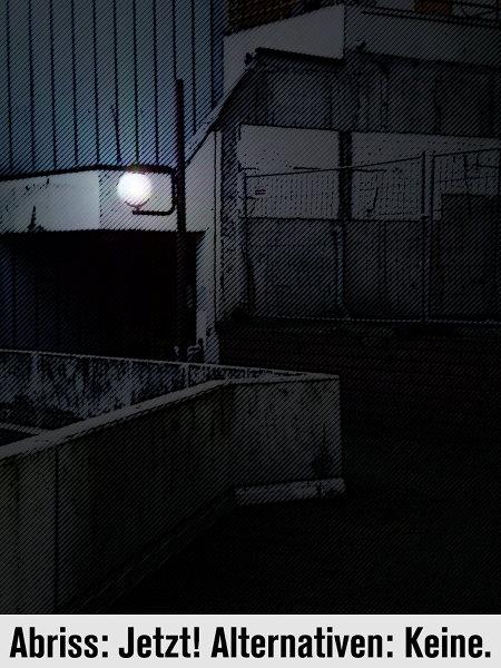 Stark digital nachbearbeitetes Foto vom Zerfall im Ihmezentrum, dazu der Text 'Abriss: Jetzt! Alternativen: Keine.'.