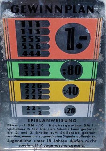 Spielanweisung -- Einwurf DM -,10 - Höchstgewinn 1,- DM - Spieldauer 15 Sek. Die erste Scheibe kann gestartet, die 2. und 3. Scheibe zum Stillstand gebracht werden, wenn die zugeordneten Signale aufleuchten. Jugendliche unter 18 Jahren dürfen nicht spielen. (§ 7 Jugendschutzgesetz)