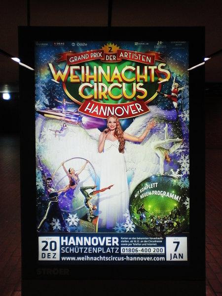 Werbeplakat. Grand-Prix der Artisten -- Weihnachts Circus Hannover -- Mit komplett neuem Programm -- 20. Dezember bis 7. Januar -- Hannover, Schützenplatz