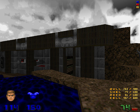 Screenshot Doom mit PWAD 'Good Morning Phobos', allerdings an einer Position, die man durch normales Spiel nicht erreichen kann.