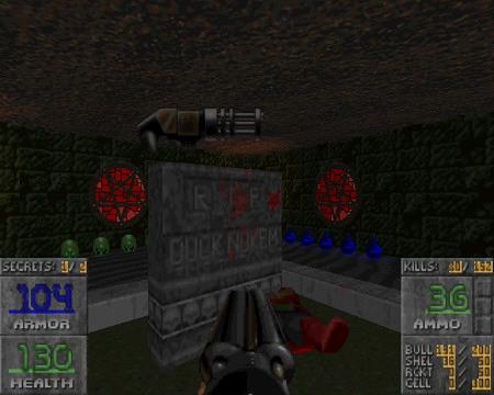 Screenshot Doom-WAD Memento Mori II -- Ein Grabstein mit Inschrift: RIP Duck Nukem