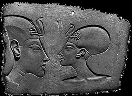 Ägyptische Darstellung eines Menschen mit stark verformtem, großem Hinterkopf