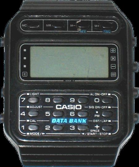 Taschenrechner-Armbanduhr Casio CD-40 aus dem Jahr 1985 mit auffälligem Aufdruck 'DATA BANK'.
