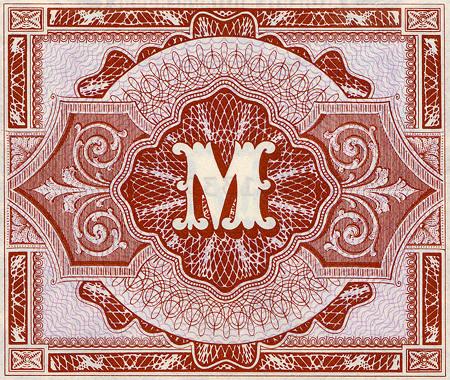 M (Rückseite der niedrigwertigen Mark-Banknoten der Alliierten Militärbehörde