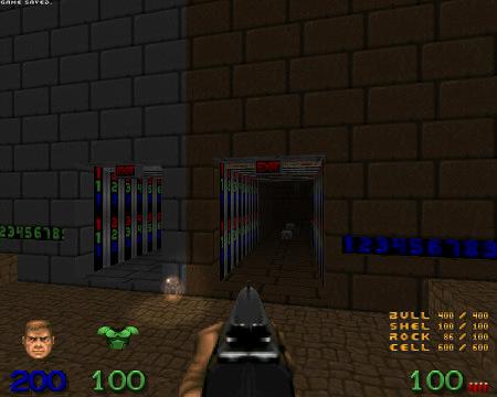 Screenshot Doom mit der WAD Community Chest 2, Map 15. Der Weg zum regulären Exit ist offen (was relativ einfach ist), und der danebenliegende Weg zum geheimen Exit ist offen (was bedeutet, dass neun gut versteckte Secrets gefunden wurden).