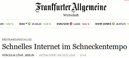 Screenshot Frankfurter Allgemeine mit der Schlagzeile 'Breitbandanschluss: Schnelles Internet im Schneckentempo'.