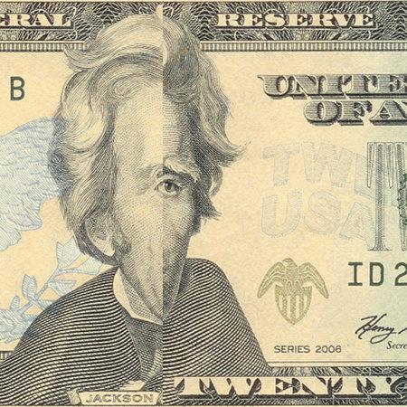 Aktuelle Banknote über 20 US-Dollar, aus der ein Streifen so absurd herausgeschnitten wurde, dass ein gesichtsloser Präsident Andrew Jackson mit einem einzigen Auge übrig bleibt. Diesen Effekt bekäme man übrigens auch mit einer Faltung hin...
