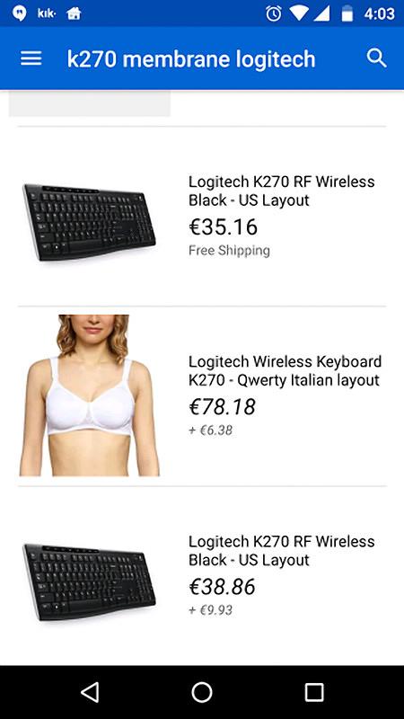 Logitech Wireless Keyboard K270, Qwerty Italian Layout -- €78.18 + €6.38 -- Dazu ein völlig fehlgeschlagenes Produktbild, das zu einem Busenhalter gehört.