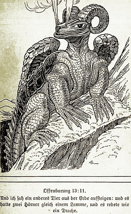Offenbarung 13:11 -- Und ich sah ein anderes Tier aus der Erde aufsteigen; und es hatte zwei Hörner gleich einem Lamme, und es redete wie ein Drache