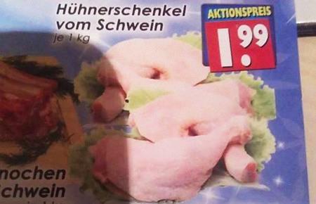 Hühnerschenkel vom Schwein, je 1 kg, Aktionspreis 1,99