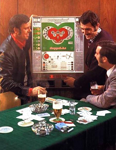 Werbung für das NSM-Geldspielgerät Rotamint Doppel-As aus dem Jahr 1974