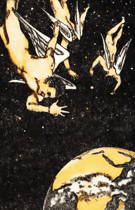 Illustration aus 'Das vollendete Geheimnis', Zeugen Jehovas, 1921. Engel fallen auf die Erde hinunter.