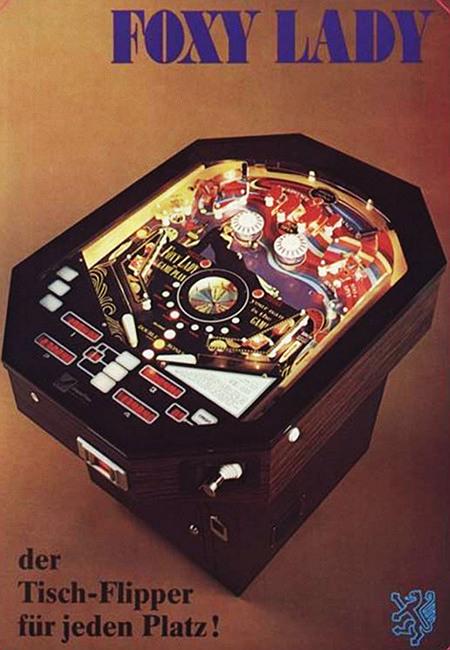 Werbung in einem Fachmagazin für Automatenaufsteller aus dem Jahr 1978 -- FOXY LADY -- der Tisch-Flipper für jeden Platz