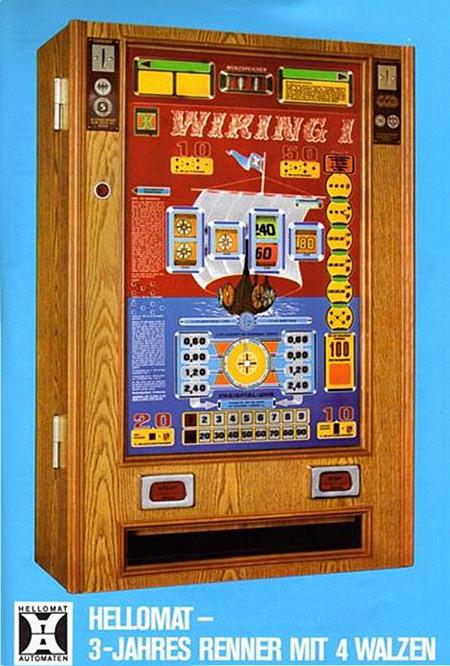 An Automatenaufsteller gerichtete Werbung für das Hellomat-Geldspielgerät Wiking Eins, Baujahr 1975, aus dem Jahr 1976 -- Hellomat -- 3-Jahres-Renner mit 4 Walzen -- Hellomat Automaten