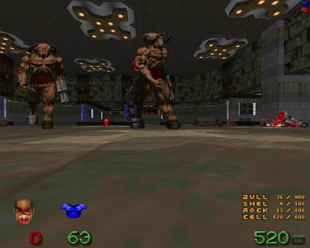 Screenshot Doom. Enger Raum mit zwei Cyberdemons. Ich bin tot.