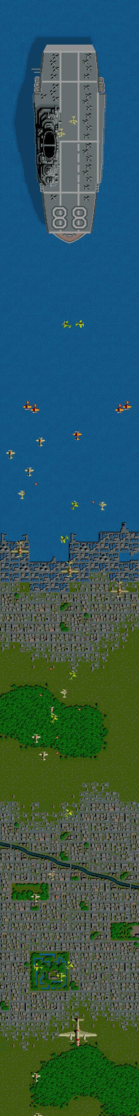 Ein halbes Level aus dem Capcom-Spiel 1942 aus dem Jahr 1984