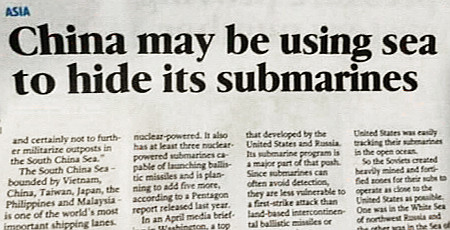 Englische Zeitungsschlagzeile -- Asia: China may be using sea to hide its submarines