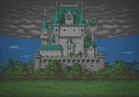 Die im Attractmodus des Arcadespieles Don Doko Don (Taito, 1989) angezeigte Burg