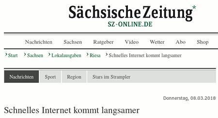 Überschrift auf der Website der Sächsischen Zeitung: Schnelles Internet kommt langsamer