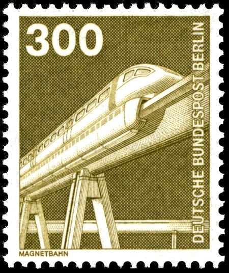 3-DM-Briefmarke 'Magnetbahn' aus dem Jahr 1982