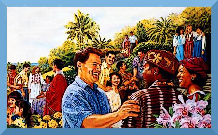 Illustration aus der Literatur der Zeugen Jehovas, es wird das überwältigende Glück und der Frieden in der Neuen Welt dargestellt.