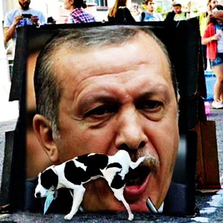 Auf dem Boden aufgestelltes Plakat mit einer Abbildung von Recep Tayyip Erdoğan beim Reden. Ein Hund pinkelt so gegen das Plakat, dass er scheinbar in den Mund pinkelt