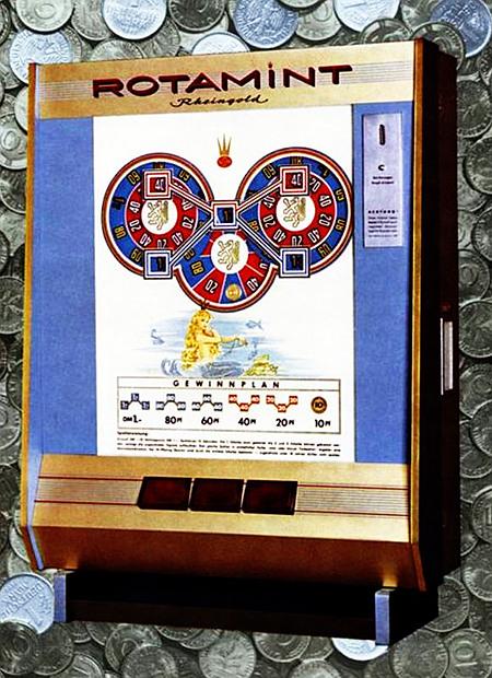 Werbung für das NSM-Geldspielgerät Rotamint Rheingold aus dem Jahr 1963