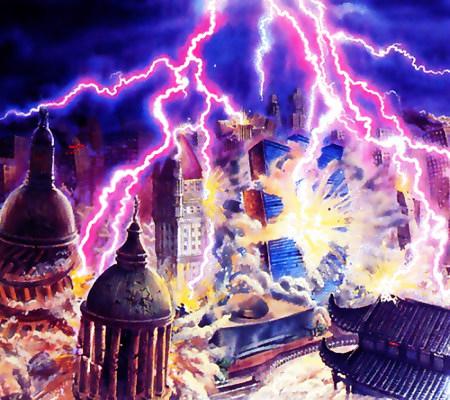 Darstellung aus der Lektüre der Zeugen Jehovas: Ein riesiges Gewitter zerstört mit seinem Blitzen die Gebäude einer großen Stadt