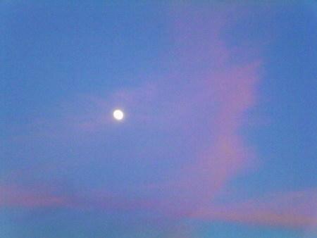 Mond vorm dunkelnden blauen Himmel, umgeben von rosa Wolkenfetzen