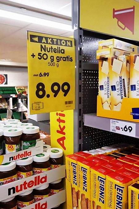 Aktion -- Nutella +50 Gramm gratis -- 500 Gramm -- statt 6,99 Euro -- 8,99 Euro