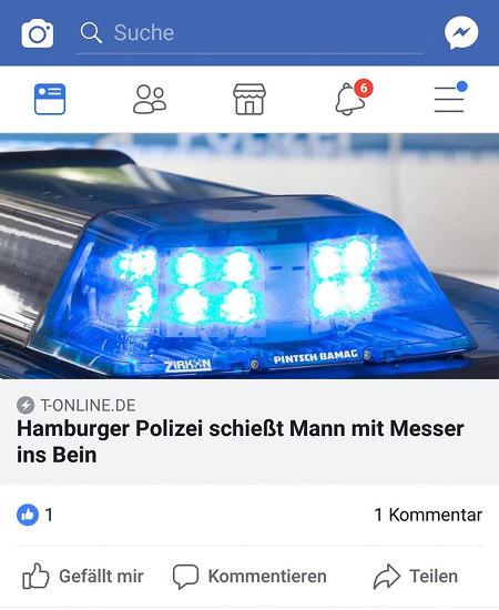 T-ONLINE.DE -- Hamburger Polizei schießt Mann mit Messer ins Bein